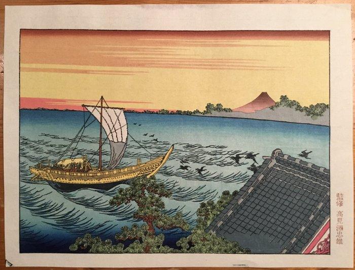 Woodblock print (reprint), Published by Takamizawa - Katsushika Hokusai (1760-1849) - De berg Fuji gezien vanuit Suzaki - Japan - CA 1970