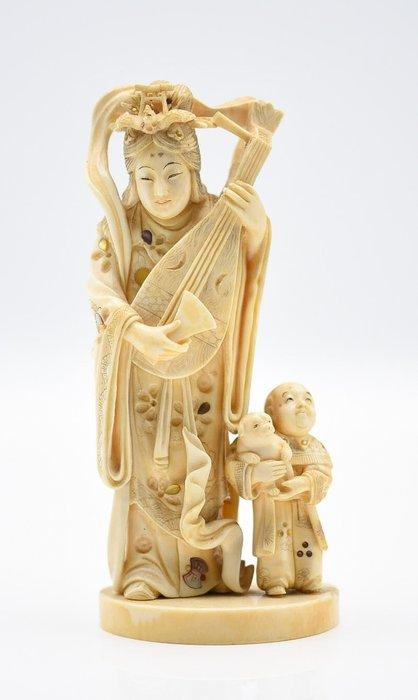 Okimono (1) - Elephant ivory - Shibayama Ivory okimono Benten and karako,Meiji period signed - Japan - 19th century Meiji period