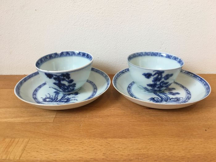 Christie's auction of cups and saucers from the De Geldermalsen wreck (4) - Blue and white - Porcelain - China - 18th century