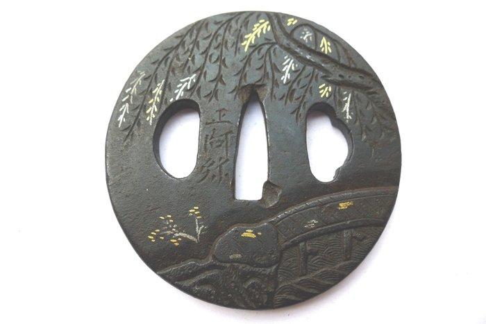 Beautiful sign 正阿弥(shouami) mountain tree motif tsuba - Iron - Japan - Edo Period (1600-1868)