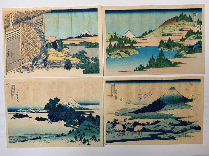 "Set of 4 woodblock prints (reprint) - Katsushika Hokusai (1760-1849) - From the series ""Thirty-six Views of Mount Fuji"" - Japan - 1960s - Catawiki"