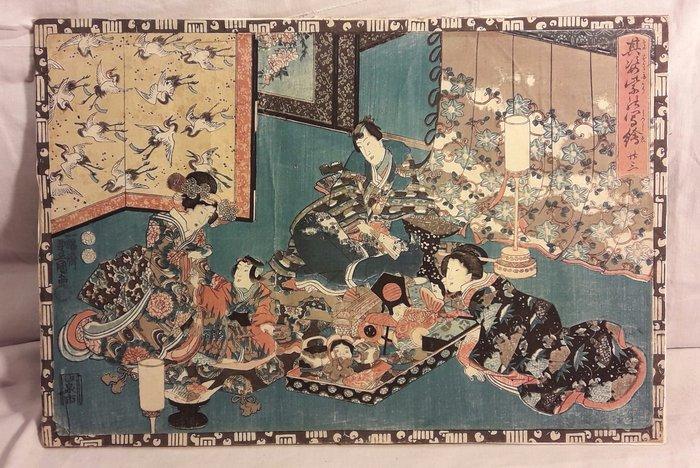 "Original woodblock print - Utagawa Kunisada (1786-1865) - 'Act XXIII' - From the series ""Magic Lantern Slides of That Romantic Purple Figure"" - Japan - ca 1847-52 - Catawiki"
