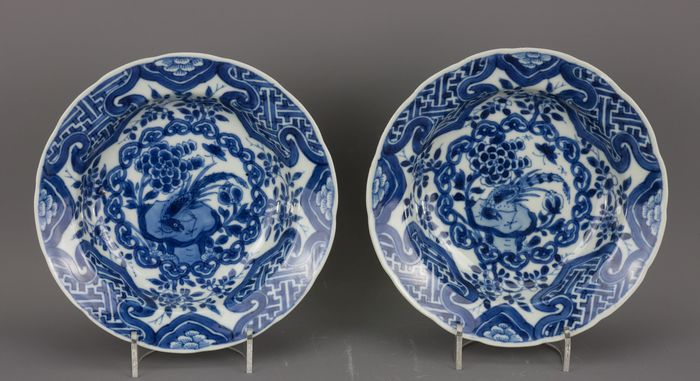 Bowl (2) - Blue and white - Porcelain - China - Kangxi (1662-1722)