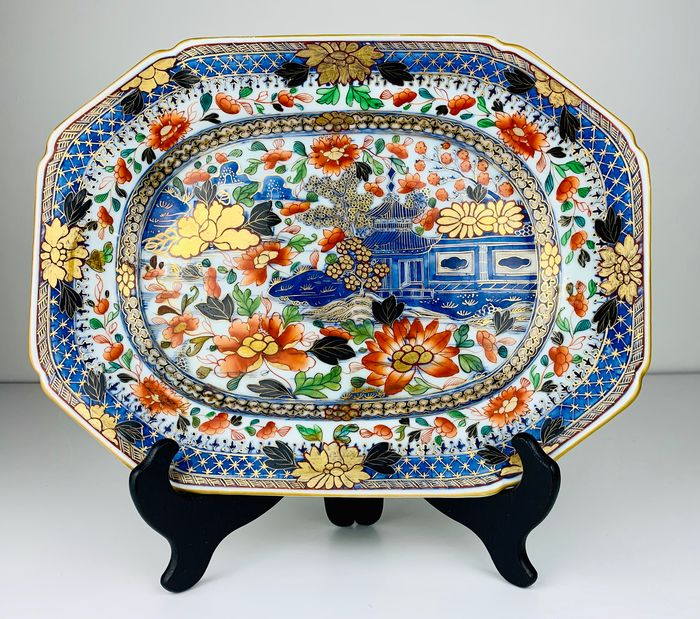 Chinese London Clobbered serving platter with Pagoda in river landscape - Porcelain - China - Qianlong (1736-1795)