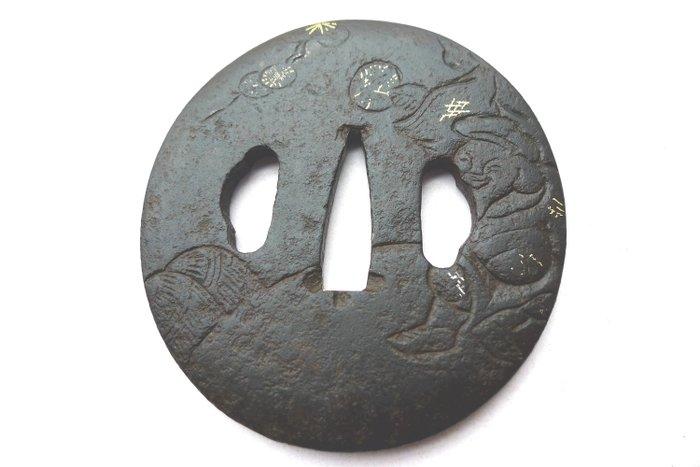 Beautiful god ebishu motif tsuba - Iron - Japan - Edo Period (1600-1868)