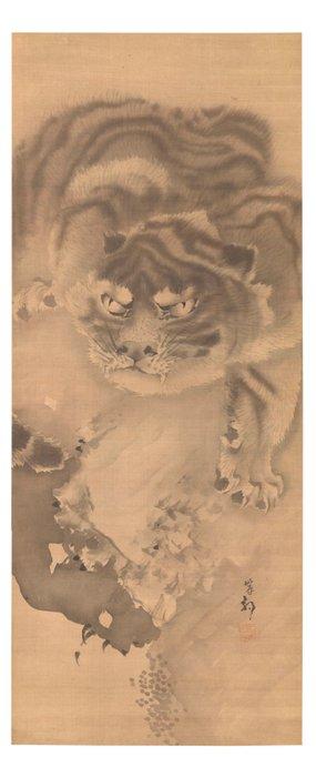 Painting (1) - Silk - Tiger (Torah) - Kishi Ganku (1749 or 1756 - 1839) - TORA - Japan - Edo Period (1600-1868)