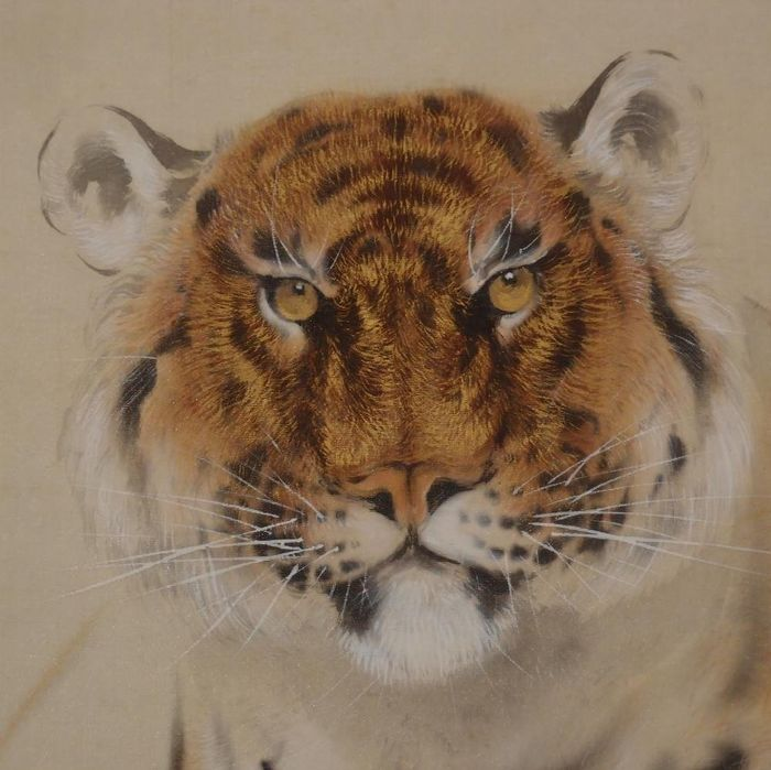 Hanging scroll, Painting - Silk - Tiger - signed and sealed Ando Seifu 安藤栖阜 - Japan - Mid 20th century