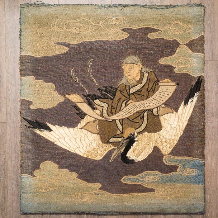 Embroidery - Silk, Wool - Large 19th century Japanese wool work panel - Japan - 19th century