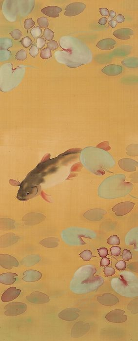 Hanging scroll (1) - Bone, Silk - Fish in lotus pond, marked - including original signed tomobako - Japan - Early 20th century