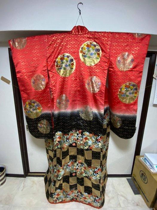 Kimono, wedding Uchikake - Cotton, Satin, Silk - Bride wears - Dreamland and flowers - Japan - Mid 20th century