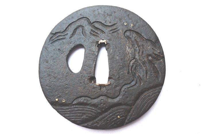 Japanese landscape ,big sea waves motif tsuba - Iron - Japan - Edo Period (1600-1868)