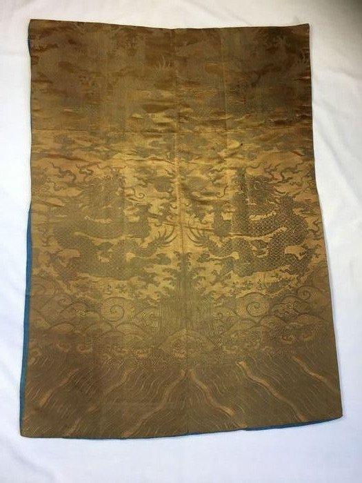 silk woven (1) - Yellow woven - Silk - Dragon - woven - China - 19th century