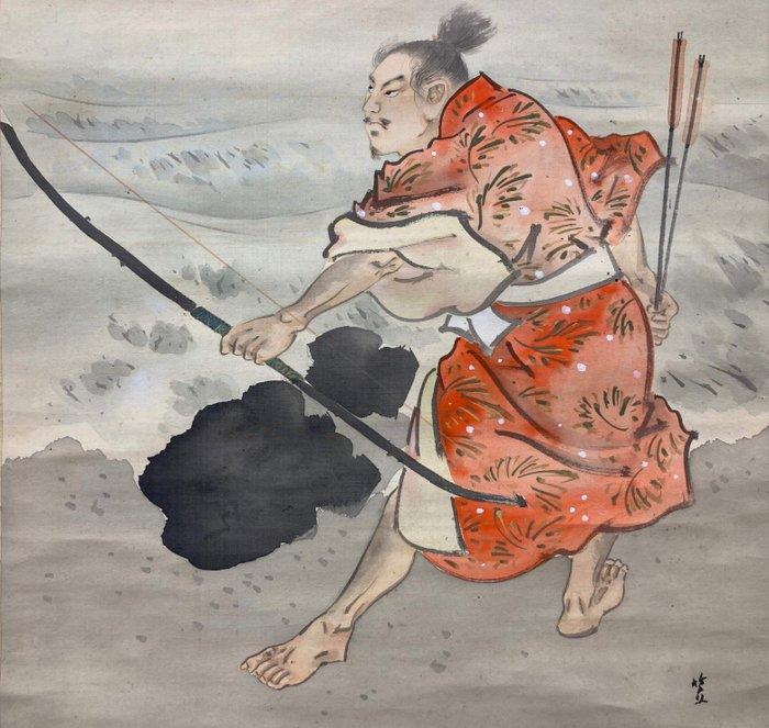 """Hanging scroll (1) - Silk and antler shaft - Sasai - 武将図(Bushozu)with signed Sasai""""笹斎"""" - Japan - Meiji period (1868-1912)"""