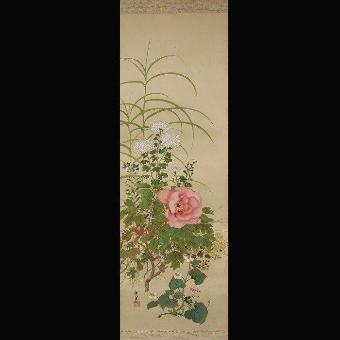 """Hanging scroll painting (1) - Silk - Peonies, chrysanthemums and flowers. - Yoshikawa Koukei(?-?) - """"Peonies, chrysanthemums and flowers."""" - Japan - Taishō period (1912-1926)"""