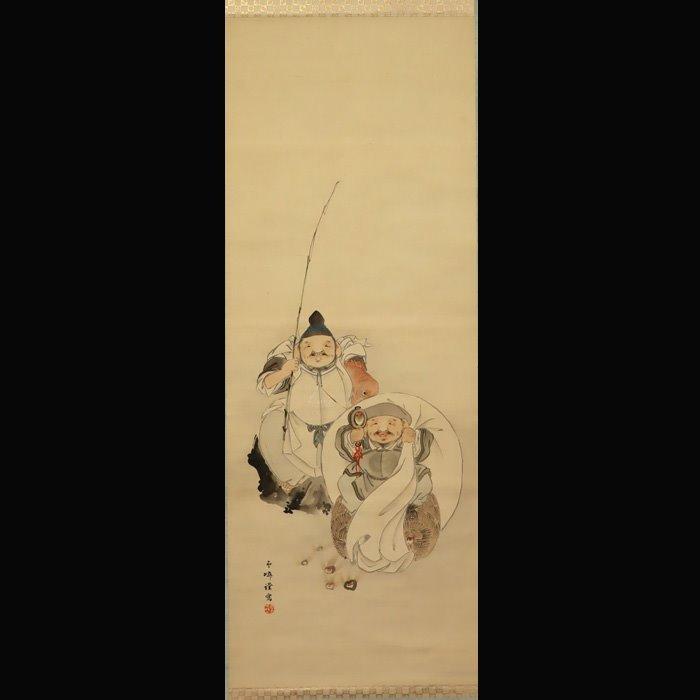 "Hanging scroll painting - Silk - Ebisu,Daikoku,Hoju - Kaito Unrin (1846-1919) - ""Ebisu, Daikoku, and Hoju"" - With signature 'Unrin' 雲嶙 - Japan - Meiji period (1868-1912)"