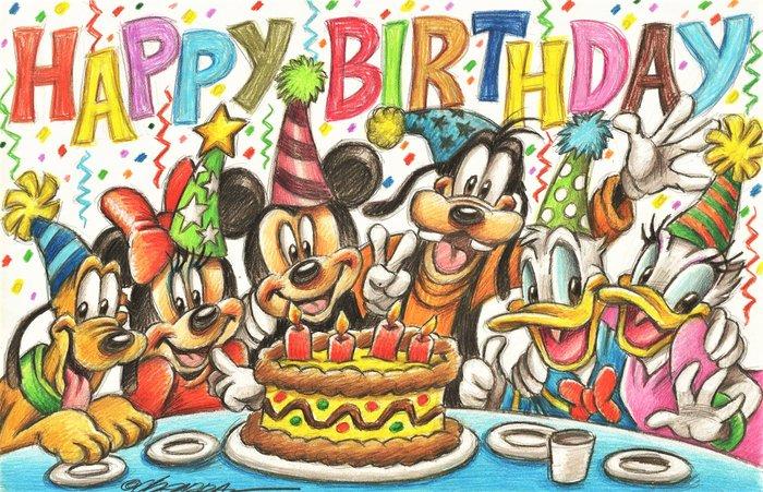 Disney Family Happy Birthday Original Drawing Joan Catawiki