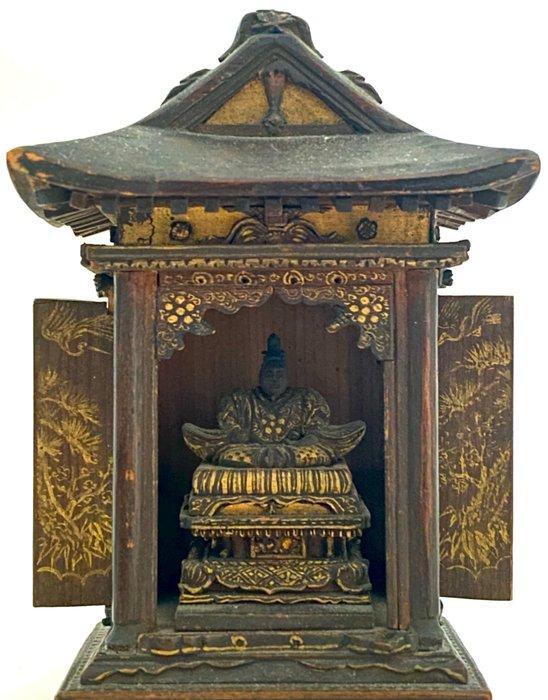 Beautiful original Butsudan with Sugawara no Michizane 菅原 道真/菅原 道眞 - Detailed wooden shrine - God of learning, Tenman-Tenjin 天満天神 - Japan - Meiji period (1868-1912)