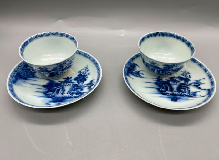 Cups, Saucers (4) - Porcelain - Nanking cargo pagoda pattern - China - 18th century
