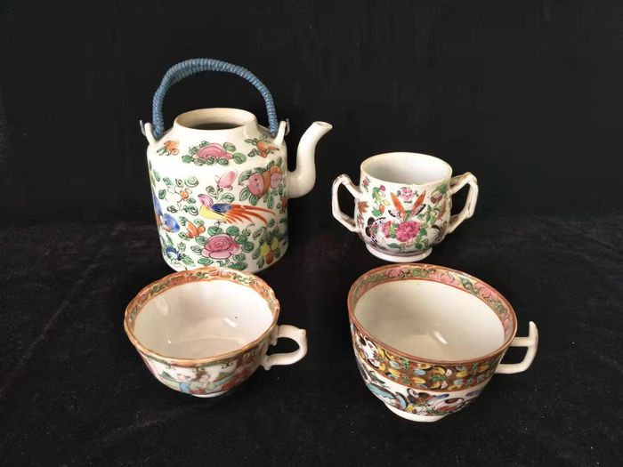 Tea cup, Teapot (4) - Canton - Porcelain - character, bird flower - China - 19th century