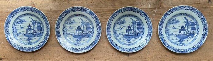 Plates (4) - Blue and white - Porcelain - China - Qianlong (1736-1795)
