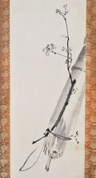 Hanging scroll painting - Paper, Silk - zen - With signature Zeshin 是真 and seal Koma 古満 - Zen painting – Umbrella and Plum twig - Japan - Meiji period (1868-1912)