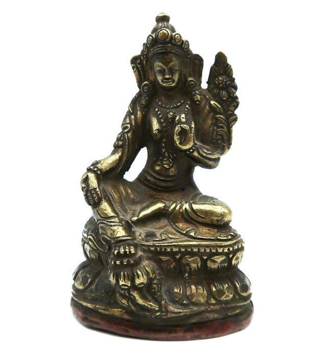 Ancient bronze, White Tara - Dolma Karpo - Sītā Tārā - Bronze - Tibet - 18th century