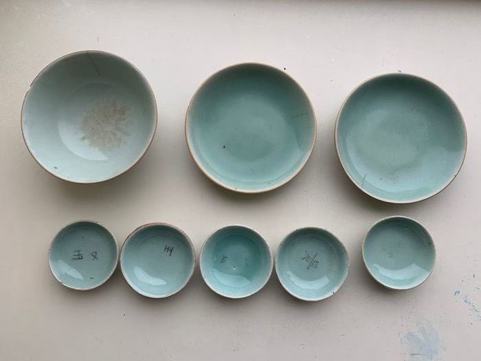 Bowl, Plates (8) - Celadon - Porcelain - marked - China - 19th century