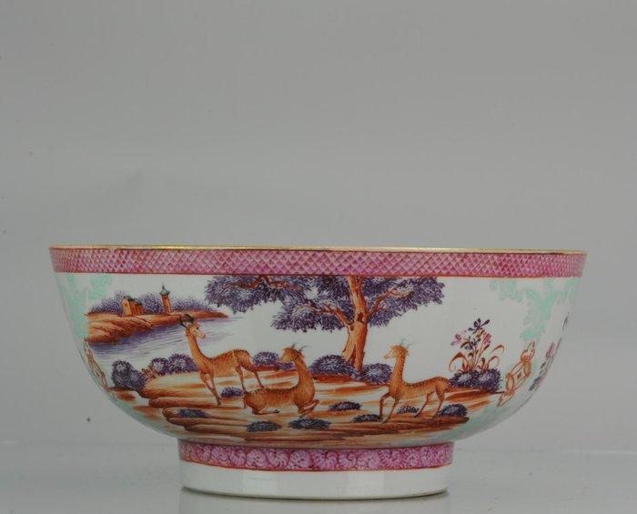 Bowl - Porcelain - Large Antique Qianlong 18th Mandarin Rose Porcelain Bowl Chinese - China - Qianlong (1736-1795)