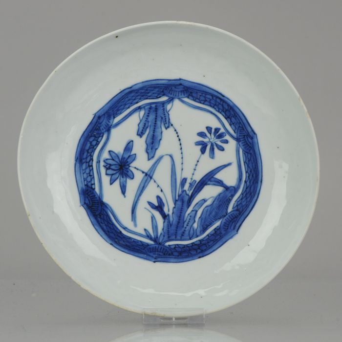 Plate - Porcelain - Antique Chinese 17C Porcelain Ming/Transitional Kraak Literatus dish with Box - China - Ming Dynasty (1368-1644)