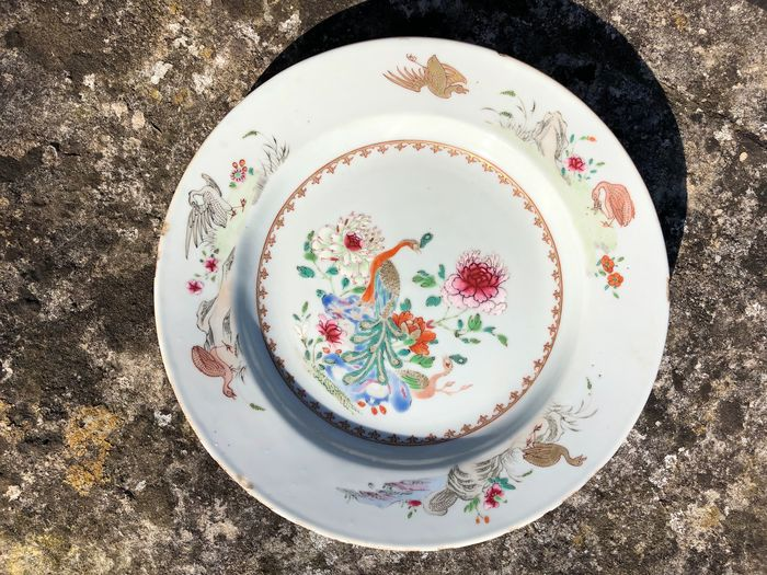 Plates (1) - Armorial porcelain, Famille rose - Porcelain - Bird, Flowers - Qing qianlong powder enamel fly plate - China - 19th century
