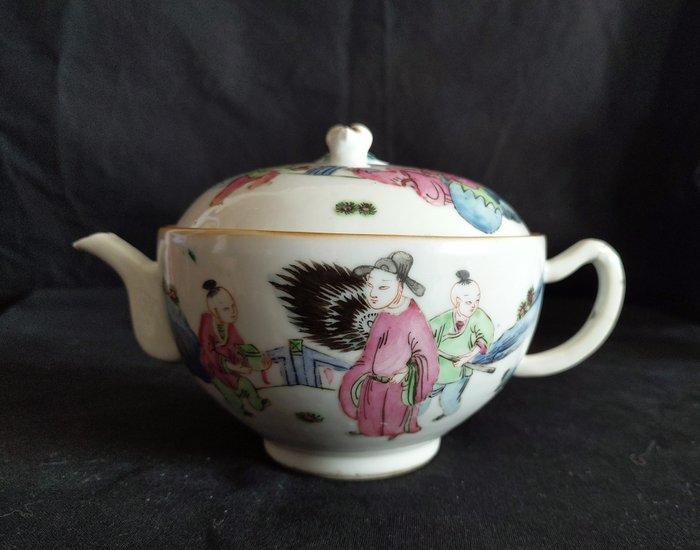 Teapot (1) - Famille rose - Porcelain - Mandarin duck - Chinesische Familie rose Teekanne Ende des 19. Jahrhunderts - China - Late 19th century