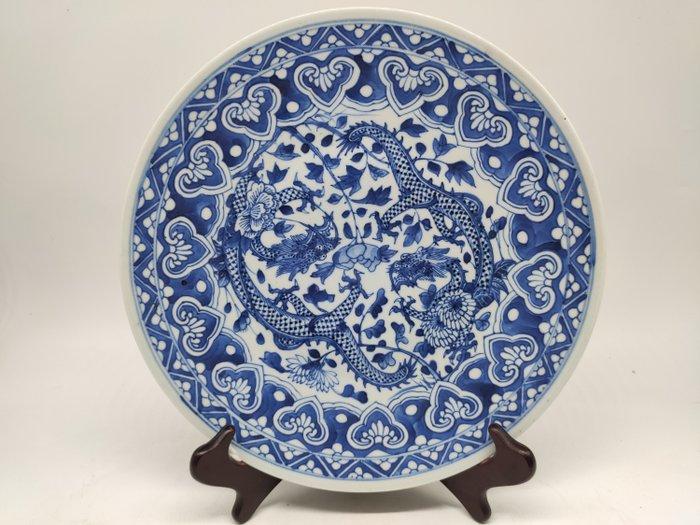 large dish - Blue and white - Porcelain - Dragon - China - 19th century