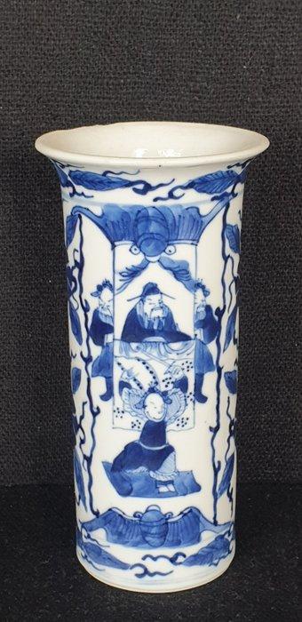 Vase (1) - Blue and white - Porcelain - Buddhist figure - Kangxi revival Chinese porselein vaas - China - 19th century
