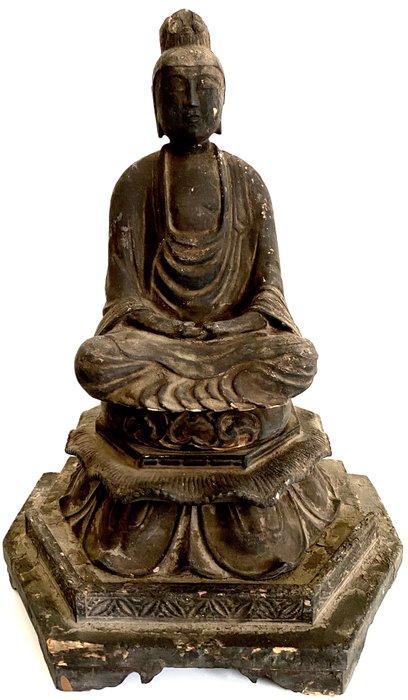 Antique beautiful statue of Kannon Bosatsu 菩薩 - Wood - Japan - Edo Period (1600-1868)