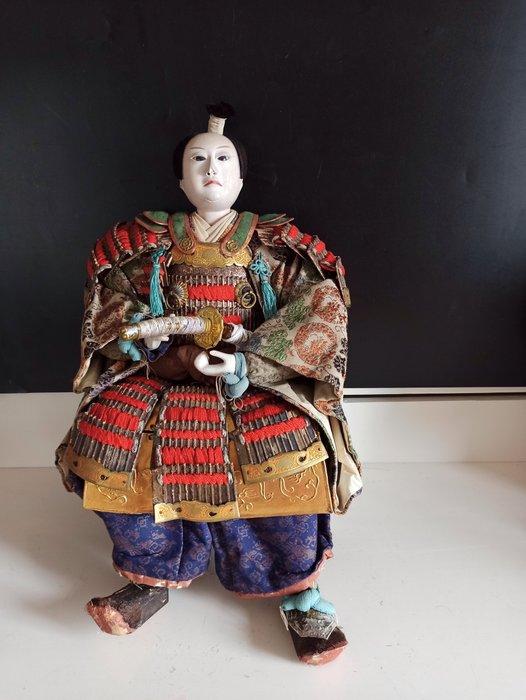 Big Musha Ningyo Warrior doll - Gilt metal,Silk,Wood - Emperor Ōjin ,The Ishida family - Japan - Meiji period (1868-1912)