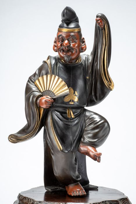 Okimono - Gilt, Patinated bronze - Grande ed eccezionale - Ebisu 恵比須 uno dei sette saggi Shichifukuji - Firmato Yoshimitsu 芳光 - Japan - Meiji period (1868-1912)