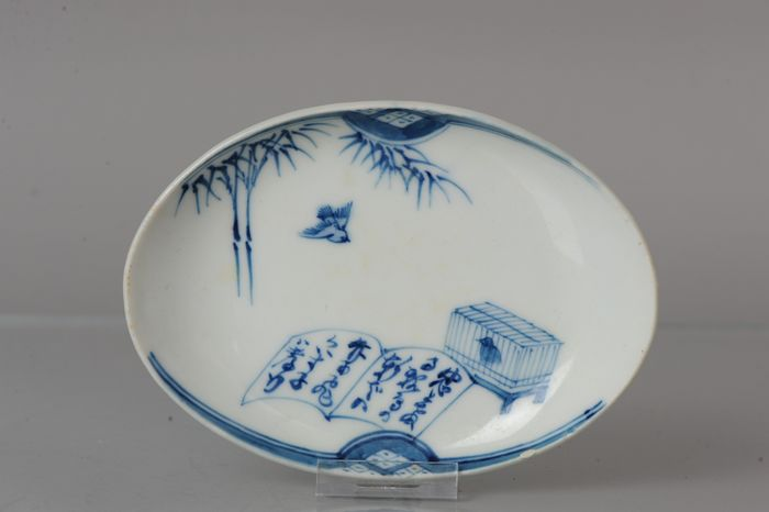 Dish - Porcelain - Calligraphy and birds - Japan - Late Edo period