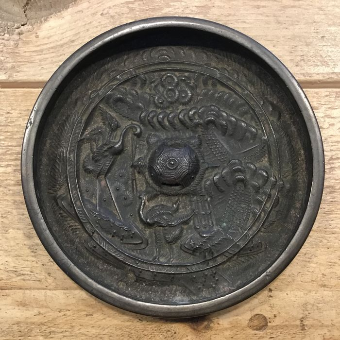 Mirror - Bronze - Decoratieve antieke Japanse herenspiegel - Japan - Meiji period (1868-1912)