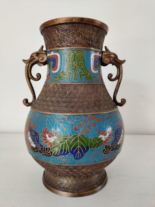 Floral decorated bronze cloisonné vase with birds and dragon heads - Bronze, Cloisonne enamel - Japan - Meiji period (1868-1912)