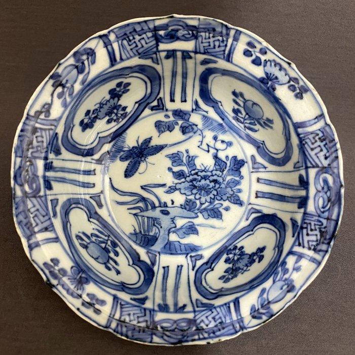 "Bowl - Porcelain - Chinese - ""Klapmuts"" - Moth near peony on table rock - China - Wanli (1573-1619)"