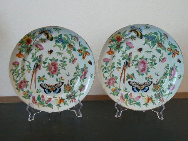 Plates (2) - Famille rose - Porcelain - China - Qing Dynasty (1644-1911)