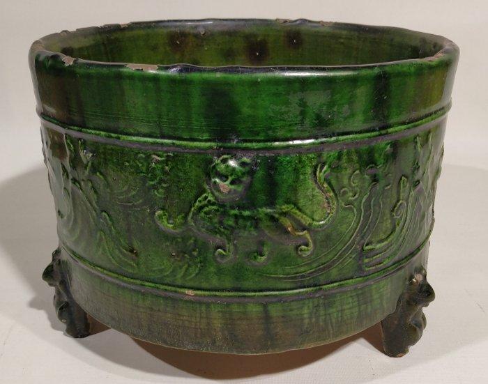 Censer, Vessel - Ceramic - Bear, Dragon, Lion - A GREEN GLAZED POTTERY CENSER - China - Han Dynasty (206 B.C.- 220 A.D.)