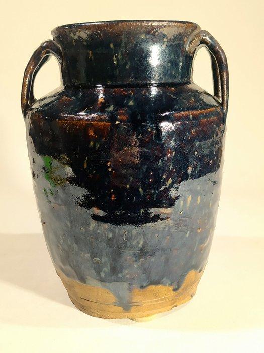 Pot, Vessel - Cizhou - Stoneware - A BLACK GLAZED VESSEL WITH 4 HANDLES - China - Yuan Dynasty (1279-1368)
