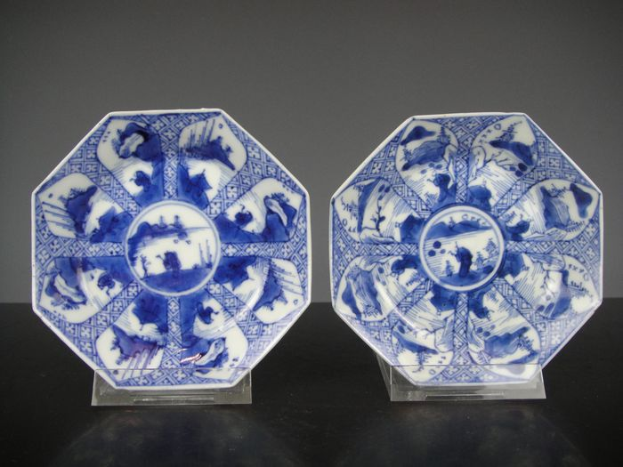 Saucers (2) - Blue and white - Porcelain - China - Kangxi (1662-1722)