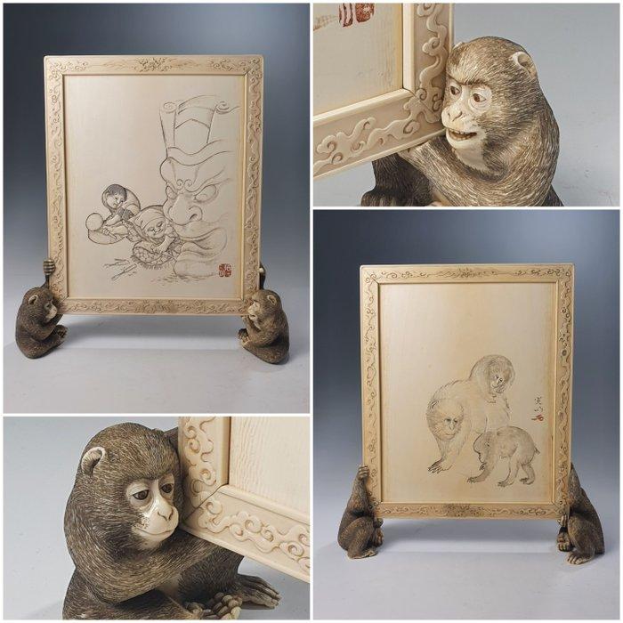 Screen (1) - Elephant ivory - Schermo da tavolo - Japan - Meiji period (1868-1912)