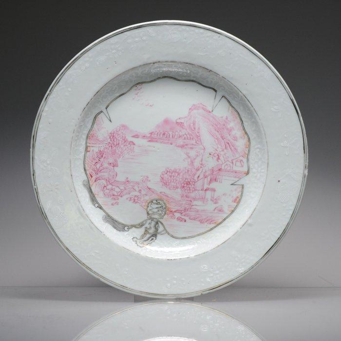 Dish - Porcelain - Antique 18C Famille Rose Encre de Chine Bianco Sopra Bianco Dish Chine de Commande - China - 18th century