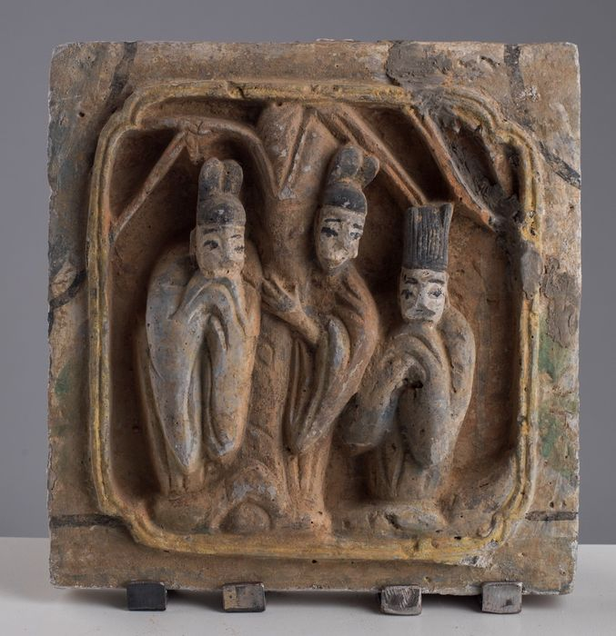 Tile - Ceramic - SONG SQUARE CERAMIC TILE WITH THREE ROBED FIGURES AROUND TREE - China - Northern Song (960-1127)
