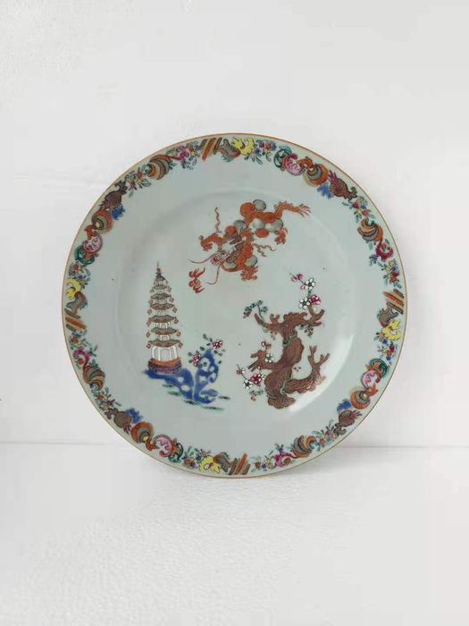 Plate - Famille rose - Porcelain - Dragon - China - 18th century