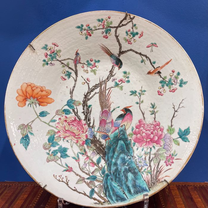 Charger (1) - Canton, Famille rose - Porcelain - Large plate D: 47 cm - China - 19th century