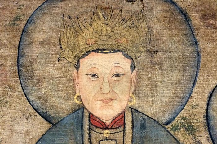 Painting, Scroll - Gilt, Paper, Silk - A Fine Chinese Hanging Scroll, The Queen Mother of the West - China - Qing Dynasty (1644-1911)